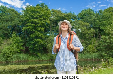 Lady tourist with backpack