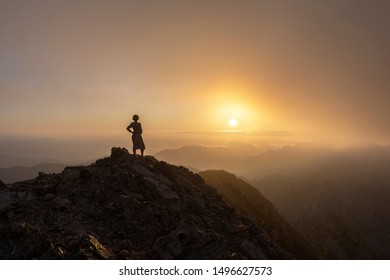Lady traveler in a mountains