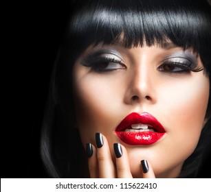Lady Vamp Style. Brunette Woman close-up Portrait