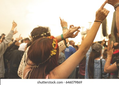 Lady wearing a flower headdress parties with crowd in a concert