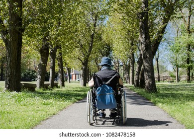 lady in wheelchair in outdoor scenery