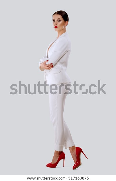 Lady White Suit Red Shoes Stock Photo (Edit Now) 317160875
