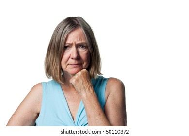 Lady worried about her financial situation frowns