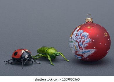 a ladybird and green beetle and new year's eve ball