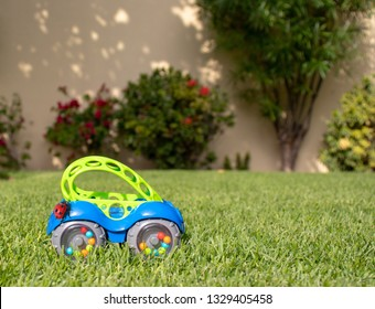 A ladybird (ladybug) getting ready to drive a baby's toy car on the grass in the garden!