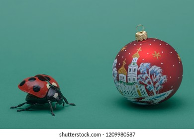a ladybird and new year's eve ball