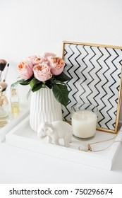 Ladys dressing table decoration with flowers, beautiful details,