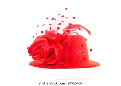Lady's red hat isolated on white. Best fit to use for putting on somebody.
