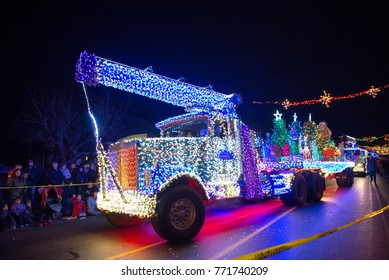 LADYSMITH, BC, CANADA - NOV 30, 2017: View of the Christmas parade at the 30th Ladysmith Festival of Lights, an iconic Vancouver Island event that brings together over twenty-thousand people.