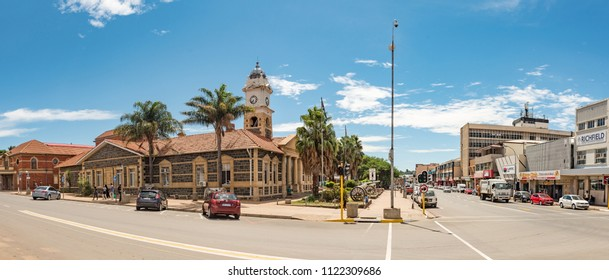 LADYSMITH, SOUTH AFRICA - MARCH 21, 2018: A street scene, with the historic town hall and cannons from the Anglo Boer War, in Ladysmith in the Kwazulu-Natal Province