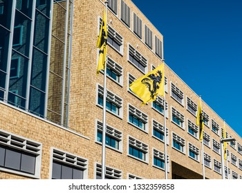 Laeken, Brussels / Belgium - 02 25 2019: Modern rectangular design facade of the Herman Teirlinck building, the main administrative office of the Flemish government