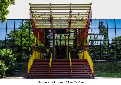 Laeken, Brussels / Belgium - 07 04 2018: Contemporary design of the entrance hall and staircase of the Brussels Design Museum