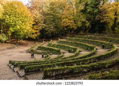 Laeken, Brussels / Belgium - 11 06 2018: Panoramic view over the natural terraces of the Osseghem park