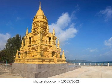 Laem Sor Pagoda Small, golden pagoda with ornate details in a serene oceanfront setting in Taling Ngam, Ko Samui