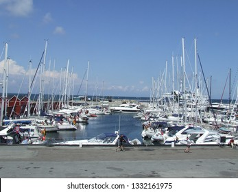 Laeso island, Denmark - July 18, 2011: Marina of Vestero Havn occupied with boats from all around the world