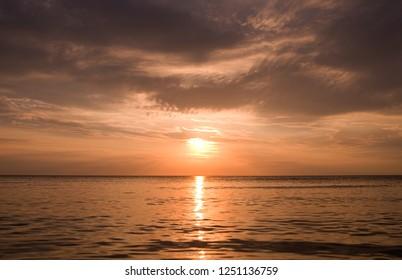 Laesoe / Denmark: Coppery evening mood on the beach of Vesteroe Havn