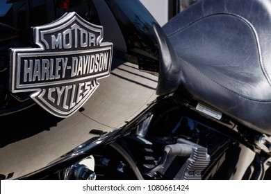 Lafayette - Circa April 2018: Emblem and Engine of a Harley Davidson. Harley Davidson Motorcycles are Known for Their Loyal Following III