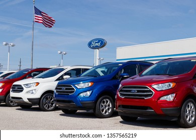 Lafayette - Circa April 2019: Local Ford Car and Truck Dealership. Ford sells products under the Lincoln and Motorcraft brands IX