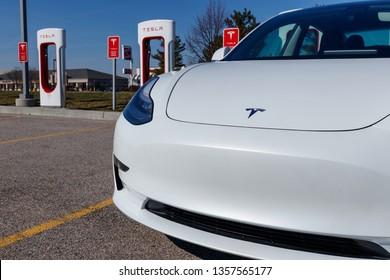 Lafayette - Circa April 2019: Tesla Supercharger Station. The Supercharger offers fast recharging of the Model S and Model X electric vehicles VII