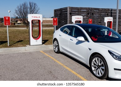 Lafayette - Circa April 2019: Tesla Supercharger Station. The Supercharger offers fast recharging of the Model S and Model X electric vehicles VI