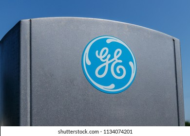 Lafayette - Circa July 2018: Logo and Signage of General Electric. GE was recently dropped from the Dow 30 after losing approximately half of its value VIII