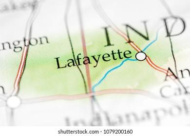 Lafayette, Indiana, USA on a map.