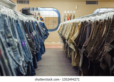 LAFAYETTE, L.A. / USA - MARCH 27, 2019: Goodwill is an American nonprofit organization and a second-hand store that creates jobs. Clothing donated to the thrift store is resold to the public.