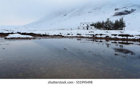 Lagangarbh Hut (or cottage) is situated North of Buachaille Etive Mor along River Coupall in the Scottish Highlands in Winter
