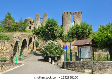 LAGARDE, ARIEGE, FRANCE - September 10, 2018. The castle remains of Chateau de Lagarde from the village of Lagarde, Ariege, Occitanie, France