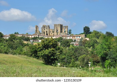LAGARDE, ARIEGE, FRANCE - September 10, 2018. The ruined castle of Chateau de Lagarde looms above the village of Lagarde, Ariege, Occitanie, France
