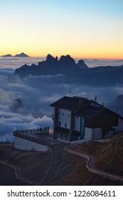 Lagazuoi Cable car station, on the Lagazuoi mountain, Belluno, Italy at sunrise