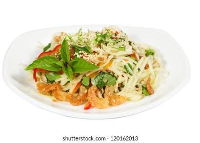 Lagenaria vulgari mixed with dried shrimp, peanut and herbs