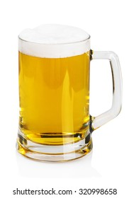 lager beer in a mug on a white background
