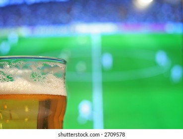 Lager and football on the TV