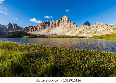 Laghi Dei Piani lake in Tre Cime di Lavaredo natural park in the morning, Italy