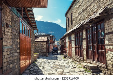 Lagich, Azerbaijan, October 24, 2018. Tourist center, old street