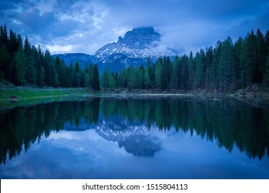 Lago Antorno Lake with reflection during sunset in Dolomites near toblach in italy.