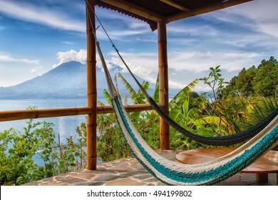 Lago de Atitlan with Volcan San Pedro, Guatemala, Central America
