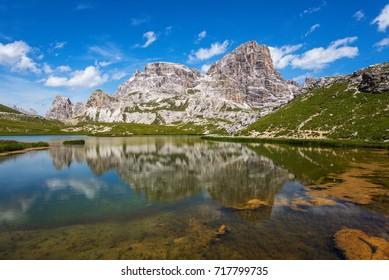 Lago dei Piani, Lastron dei Scarperi (2957m) and Crodon di San Candido (2891m).