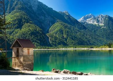 Lago del Predil - Friuli Italy /  (Predil Lake), beautiful alpine lake in north Italy near the Slovenian border. Julian Alps, Friuli Venezia Giulia, Italy