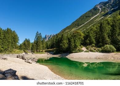 Lago del Predil (Predil Lake). Small mountain lake in Julian Alps, Tarvisio, Friuli Venezia Giulia, Italy, Europe