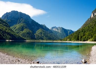 Lago del Predil (Predil Lake). Small mountain lake in Julian Alps, Tarvisio, Friuli Venezia Giulia, Italy