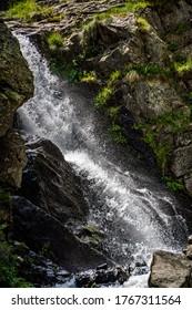 Lago della Rovina Waterfall - Lake in the Italian Alps Entracque