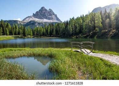 """Lago di Arntorno in front of the """"Tre Cime di Lavaredo"""" , south tyrol, italy"""