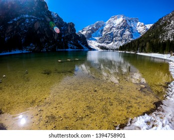 Lago Di Braies. Braies Lake in Dolomites mountains. Amazing view of Braies Lake (Lago Di Braies, Pragser Wildsee) in Northern Italy. Beautiful lake in the Italian alps. Wide angle background image.
