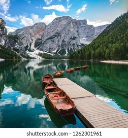 Lago di Braies lake, Mountains Dolomiti di Brenta, Italy