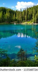 Lago di Carezza (Karersee), a Beautiful Lake in the Dolomites, Trentino Alto Adige, Italy.