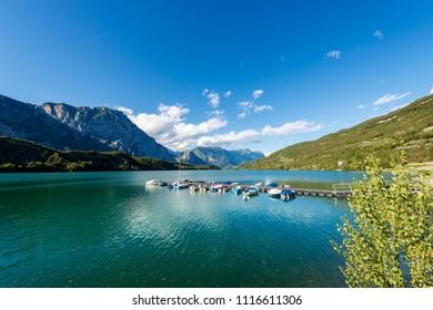 Lago di Cavedine (Cavedine Lake) small alpine lake in Trentino Alto Adige, Italy, Europe