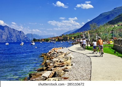 Lago di Garda activities .beautiful lake in north of Italy . Malcesine