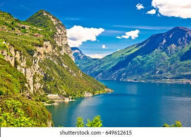 Lago di Garda and high mountain peaks view, Limone sul Garda, Lombardy, Italy